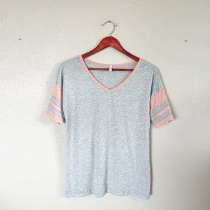 Z Supply Grey & Faded Red V Neck Tee